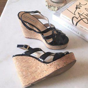 LK Bennett navy patent cork wedge platform sandal